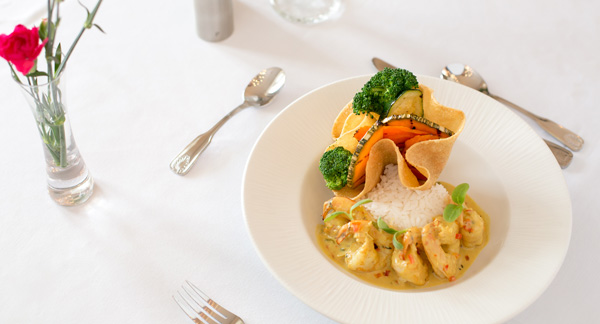 Curry Shrimp on the lunch menu at Champers