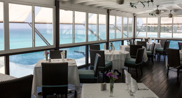 Upstairs, air-conditioned dining area at Champers