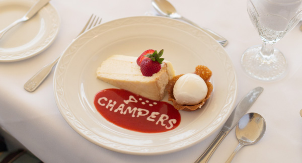 White Chocolate Cheesecake on the Desserts Menu at Champers