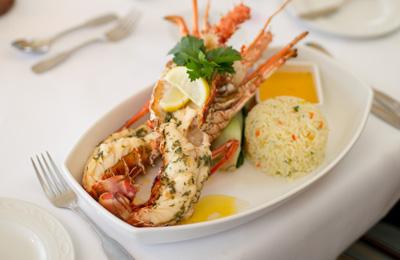 Lobster on the dinner menu at Champers Restaurant