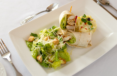 Chicken wrapped on the Champers lunch menu