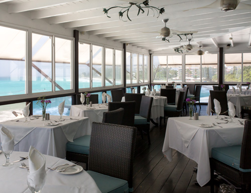 Air conditioned dining area upstairs at Champers Restaurant