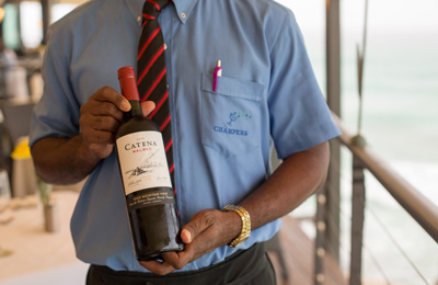 Wine menu at Champers Restaurant in Barbados