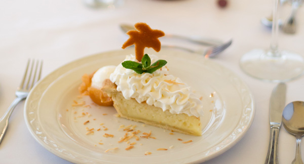 Coconut Pie on the dessert menu at Champers